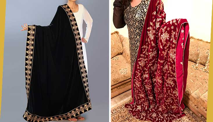 Embroidered Velvet shawls